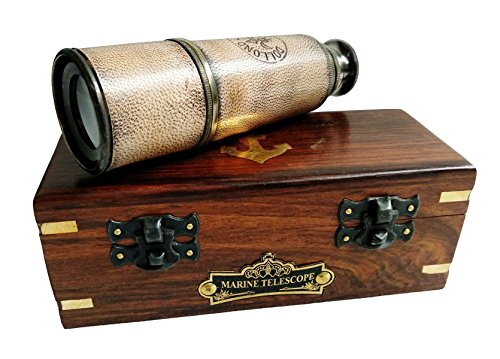 "Nautical Handheld Pirate Brass Telescope with Rosewood Box, Sailor Home Decor Pirate Captain Boat Toy Gift (14"", Dollond)"