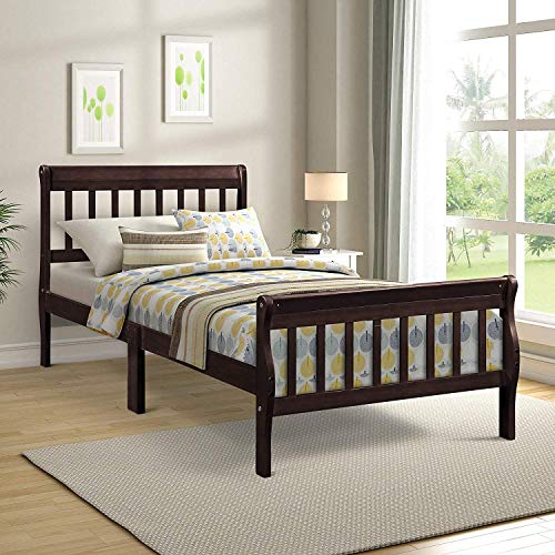 Wood Platform Bed Twin Bed with Headboard/Footboard/Wood Slat Support for Bedroom (Antique Espresso) - Espresso Sleigh Bed