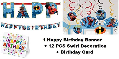 The Incredibles Movie Jack Swirl Hanging (12 PC) Happy Birthday Banner (1 PC) Party Decoration Plus Birthday Card