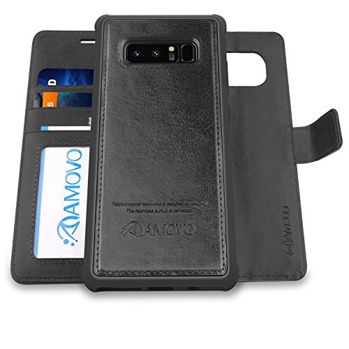 AMOVO Case for Galaxy Note 8 [2 in 1], Samsung Galaxy Note 8 Wallet Case [Detachable Wallet Folio] [Premium Vegan Leather] Samsung Note 8 Flip Cover with Gift Box Package (Note 8, Black)