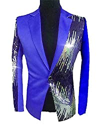 Men's Sequins Sparkly One Button Blazer L-Royalblue