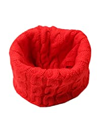 Winter Solid Color Thick Knit Soft Warm Wool Scarf Wrap, Red