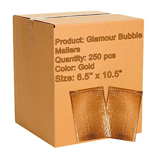 (250 Pack Metallic Bubble Mailers 6.5 x 10.5 DVD Size Gold Padded Envelopes 6 1/2 x 10 1/2. Glamour Bubble Mailers. Peel and Seal. Padded Mailing Envelopes for Shipping, Packing, Packaging.)
