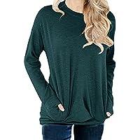 GSVIBK Womens Casual Round Neck Sweatshirts Long Sleeve Pullover Shirts Top Soft Sweatshirt Loose Blouse Pocket