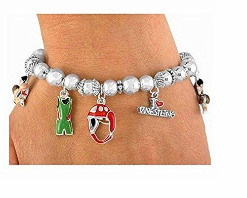 Polished Silver Tone Multi Charm ''I Love Wrestling'' Stretch Bracelet by Lonestar Jewelry