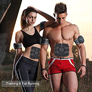 POP VIEW ABS Stimulator & Muscle Toner, Abdominal Toning Belt, EMS Muscle Trainer Wireless Body Gym Workout Home Office Fitness Equipment For Abdomen/Arm/Leg Training Men Women