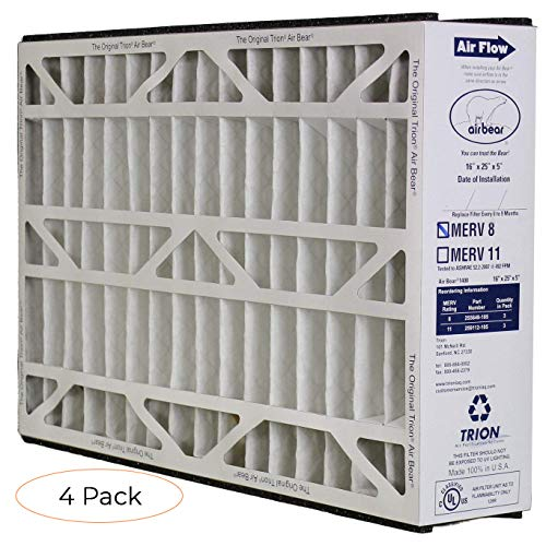 """Trion 255649-105 Filter, 16"""" x 25"""" x 5"""" (Pack 4)"""