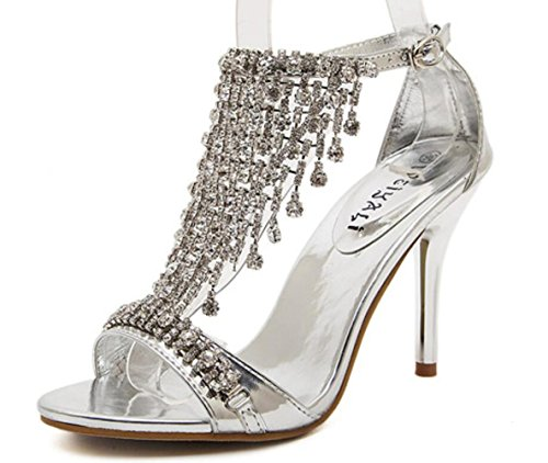Silver Moda Artificial Tacón Aguja Linyi De Rhinestones Versátiles Mujer Sandalias Para Nueva qwzXvOtP