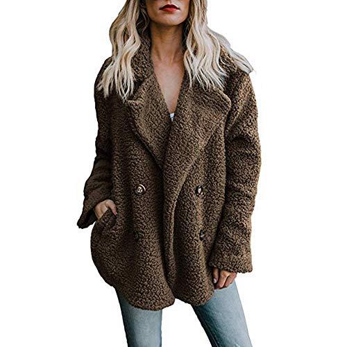 Women's Fashion Long Sleeve Lapel Button Faux Fleece Oversized Coat Winter Warm Shearling Fur Outwear Jackets