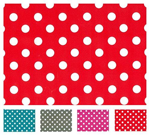 Wachstuch Tischdecke Abwaschbar Eckig 140 x 200 cm Meterware Punkte Rot