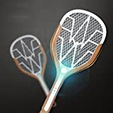 Rechargeable Mosquito, Fly Killer and Bug Zapper Racket - 3000 Volt - USB Charging, Super-Bright LED Light to Zap in the Dark - Unique 3-Layer Safety Mesh That's Safe to Touch