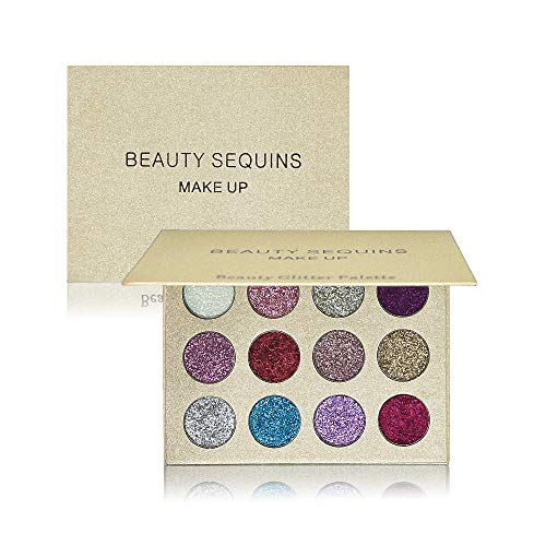 BEAUTY SEQUINS Glitter Eyeshadow Palette 12 Shades Shiny and Pigmented Mineral Pressed Powder Glitter Eyes Long Stay On Make Up Eye Shadow Shimmer Palettes(12 glitter colors palette)