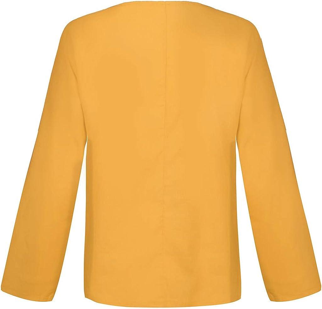 DAY8 T Shirt Maglietta Pullover Donna Eleganti Taglie Forti Camicia Casual Moda Mezza Manica Cotone Lino Tinta Unita Sciolto Top Bluse Tumblr Grandi