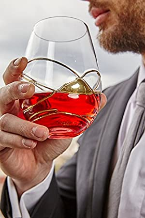 ANTONI BARCELONA Vaso de Vino - SET 2 - de cristal pintado y soplado a mano en oro de 24 kilates: Amazon.es: Hogar