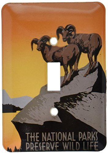3dRose lsp_171294_1  The National Parks Preserve Wild Life with Two Longhorn Sheep Single Toggle Switch ()