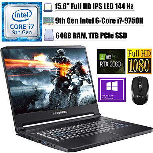 "2020 Newest Acer Predator Triton 500 Gaming Laptop 15.6"" FHD IPS 144 Hz Intel 6-Core i7-9750H 64GB DDR4 1TB PCIe SSD 6G RTX 2060 RGB Backlit KB Thunderbolt 3 Win 10 Pro + iCarp Wireless Mouse"