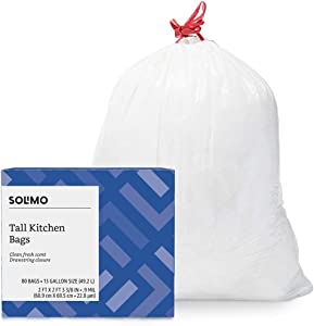 Amazon Brand - Solimo Tall Kitchen Drawstring Trash Bags, Clean Fresh Scent, 13 Gallon, 80 Count