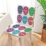 Mikihome 2 Piece Set Chair seat Pads Skull Oriental Mexican Sugar for Festive Fuchsia Dining Garden Patio Mat:W17 x H17/Backrest:W17 x H36