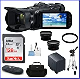 Canon VIXIA HF G40 Full HD Camcorder Pro Bundle, Includes: 128GB SDXC Class 10 Memory Card, Spare Battery, Telephoto & Wide Angle Lenses, Camcorder Bag, Full Size Tripod and more...