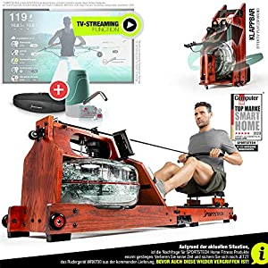 Exhibition novelty 2020! Premium water rowing machine with patented folding function +App function + Multiplayer & Video Events I chest strap I 3in1 Water resistance I WRX700 Home Rower – Real wood
