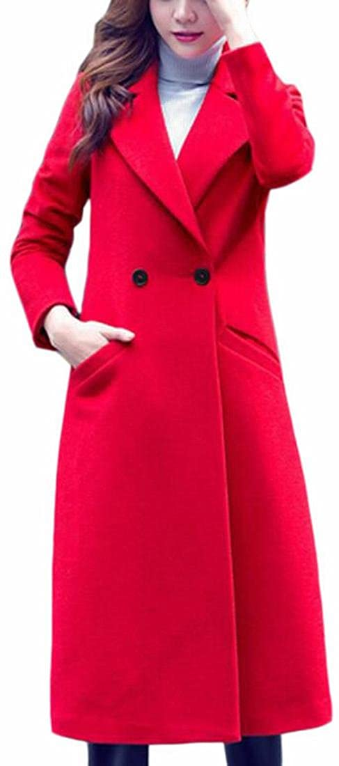 ONTBYB Women's Hipster Lapel Double Breasted Wool Blended Long Pea Coat