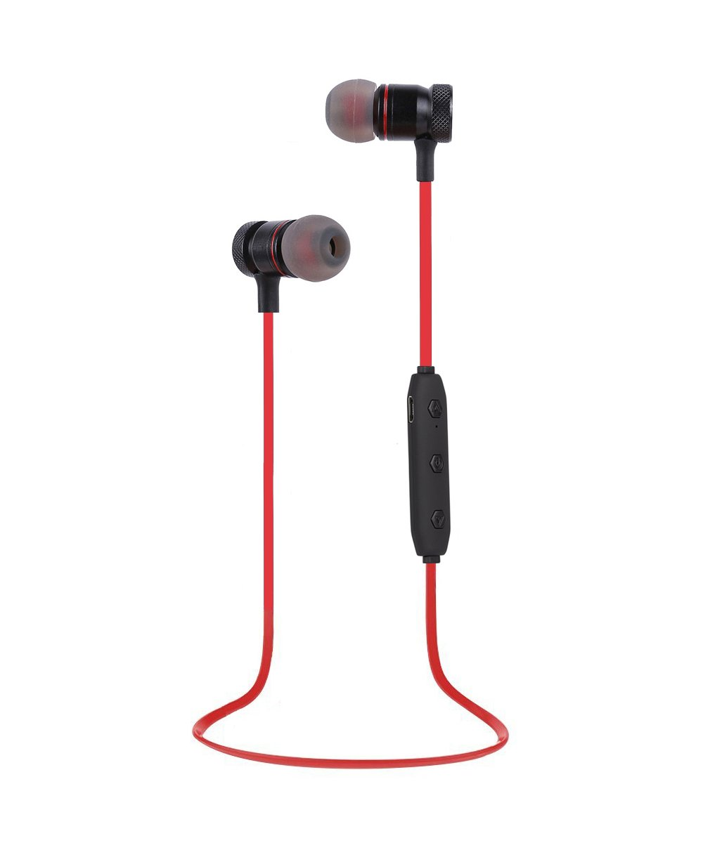 Bluetooth Headphones Wireless Headphones Sweatproof Stereo Sports Earbuds with Magnetic Attraction Earphones for Running Workout Gym Noise-Canceling with Built-in Mic Headset YYQ Red