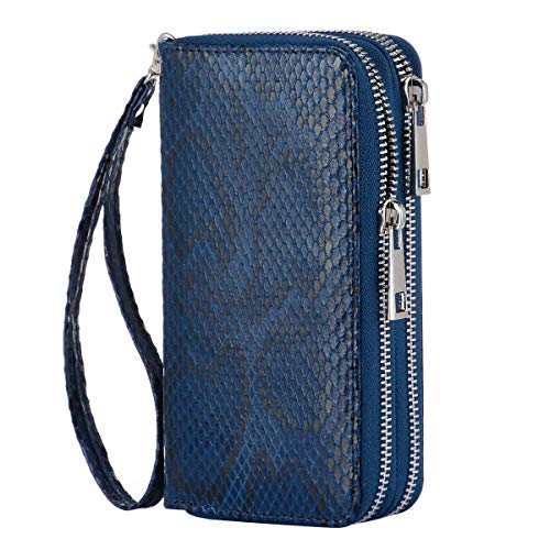 HAWEE Cellphone Wallet Dual Zipper Wristlet Purse with Credit Card Case/Coin Pouch/Smart Phone Pocket Soft Leather for Women or Lady, Indigo Blue-Soft Snakeskin Pattern