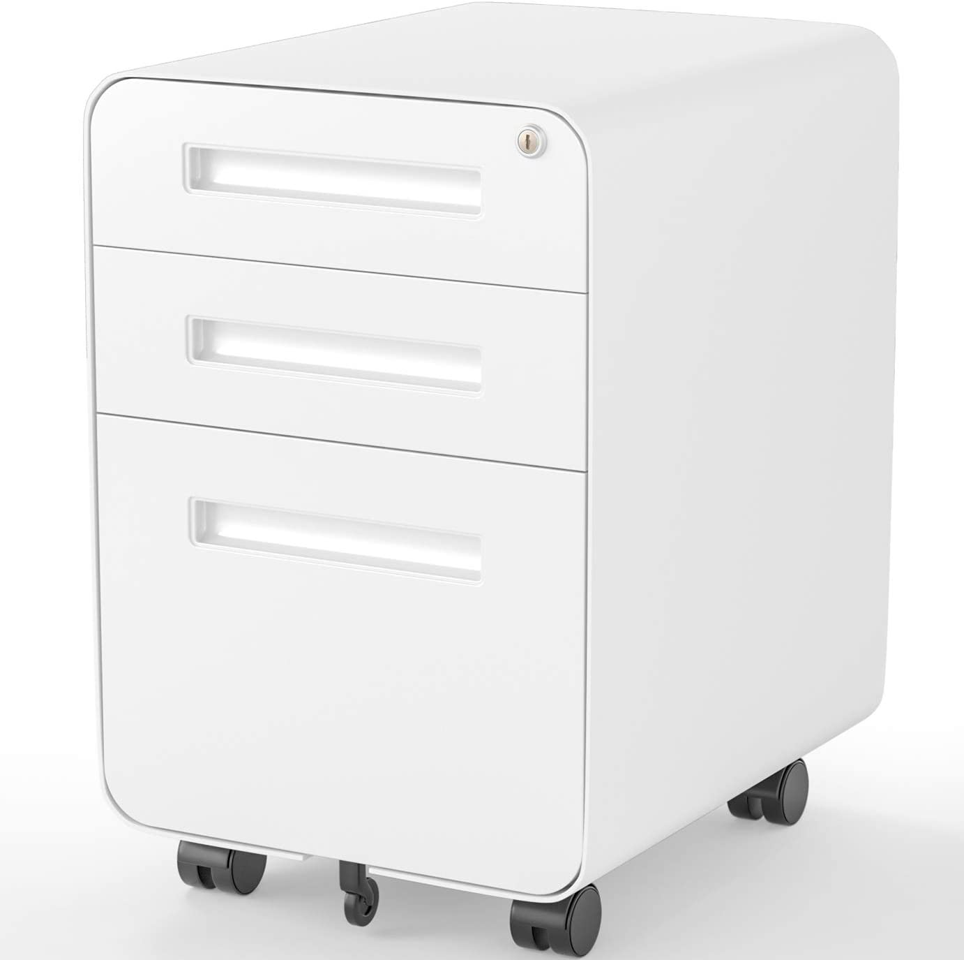 FORSTEEL File Cabinet, 3 Drawers Mobile Filing Cabinet with Lock, Steel File Cabinet Legal/A4 Size, Fully Assembled with Anti-tilt Setting for Home Office, Round Corner White