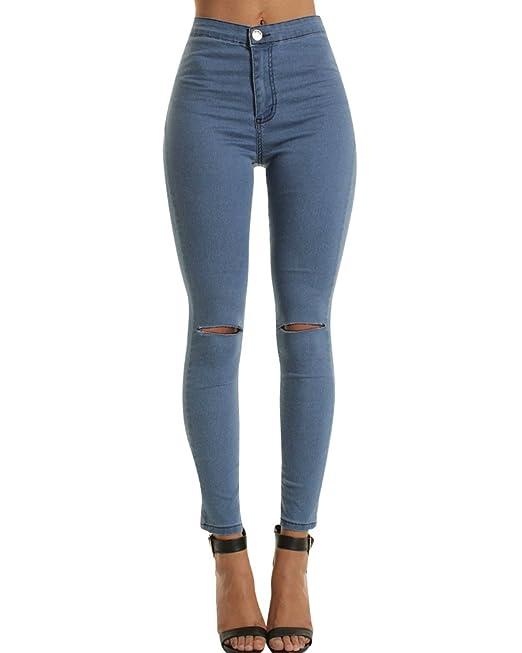 5a25eefe20 ZhuiKun Vaqueros Skinny Mujer Pantalones Jeans Rotos Leggings Mezclilla  Pantalones Armada S