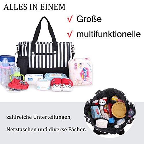 Multifunktionale Wickeltasche mit wasserdichter Wickelunterlage , Flaschentasche und Kinderwagen Universal Befestigung , große Babytasche für Unterwegs,Mode schwarz & weiß Streifen , von Future Founde