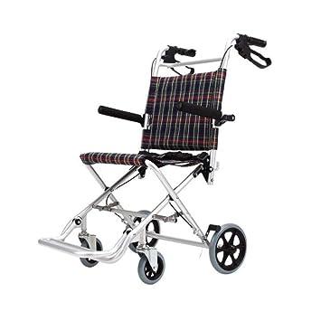 SXTYRL Aluminio Silla de Ruedas Plegable Ligera con Freno de Mano Transporte portátil de tránsito Sillas de Ruedas Plegables pequeñas para Adultos,Adult: ...