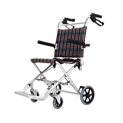 SXTYRL Aluminio Silla de Ruedas Plegable Ligera con Freno de ...