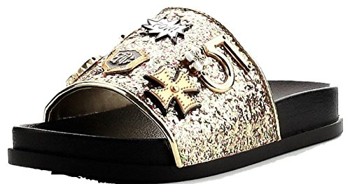 Cape Robbin Moira-25 Women Slides Flip Flop Glitter Metal Pendant Ornament Sandal Gold (8)