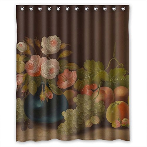 - GIOOD Width X Height / 60 X 72 Inches / W H 150 By 180 Cm Famous Classic Art Painting Flowers Blossoms Bath Curtains Polyester Fabric Ornament And Gift To Girls Bf Relatives Custom Boys.