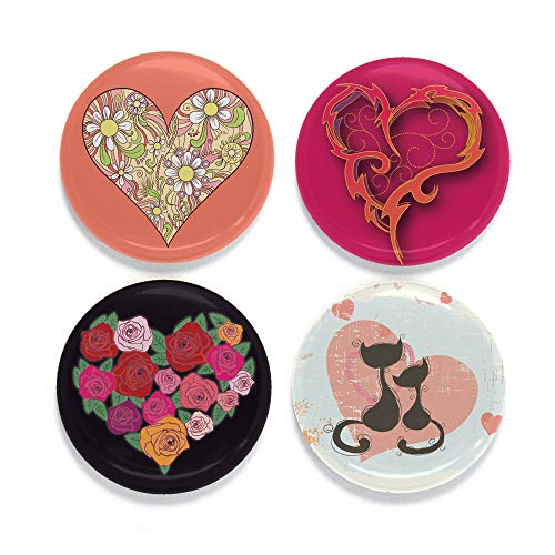 Heart Magnet - Buttonsmith Romance Hearts Magnet Set - Set of 4 1.25