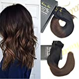 Sunny Remy Human Hair Extensions Clip in Full Head 18inch 9pcs 140g Ombre Natural Black to Brown Double Weft Clip in Human Hair Extensions