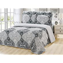 Dream Bedding Pinsonic Rich Printed Reversible 6 Pieces Quilt and Sheet Set, King Size, Black & White Damask with Silver Base Pattern