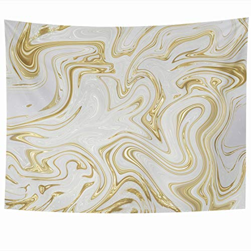 Yellow Gold Stock - AlliuCoo Wall Tapestries 80 x 60 Inches White Gold Marble Marbling Design Abstract Stock Style Watercolor Websites Home Decor Wall Hanging Tapestry Living Room Dorm