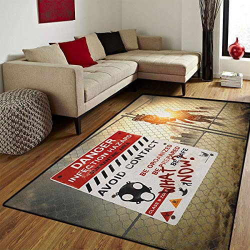 Zombie,Door Mats Area Rug,Dead Man Walking in Dark Danger Scary Scene Fiction Halloween Infection Picture,Customize Door mats for Home Mat,Multicolor,6x8 ft]()