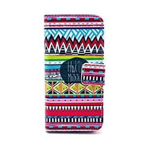 Mocase Fashion Cute Animal / Colorful Flower Style Leather Wallet Flip Stand Case Protective Cover For iPhone 5C (Tribal Tribe)