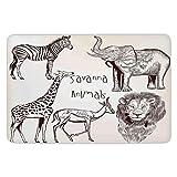 Bathroom Bath Rug Kitchen Floor Mat Carpet,Safari,Collection of Tropic African Asian Wild Savannah Animals Lion Giraffe Zebra Graphic,Cream Brown,Flannel Microfiber Non-slip Soft Absorbent