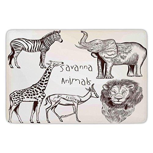 Bathroom Bath Rug Kitchen Floor Mat Carpet,Safari,Collection of Tropic African Asian Wild Savannah Animals Lion Giraffe Zebra Graphic,Cream Brown,Flannel Microfiber Non-slip Soft Absorbent by iPrint