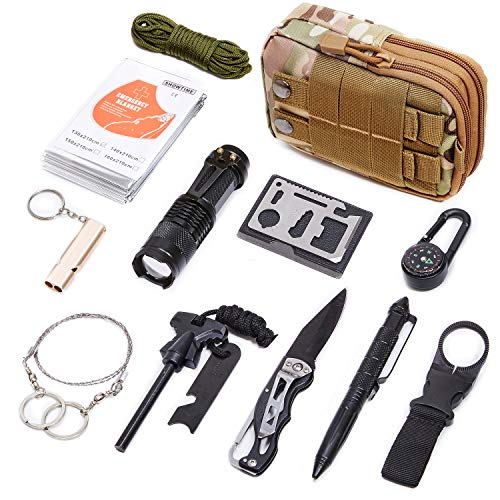 DLY Emergency Survival Kit 13 in 1- Outdoor Survival Gear Tool for Wilderness/Trip/Cars/Hiking/Camping gear - Paracord,Wire Saw, Emergency Blanket, Flashlight, Tactical Pen, Water Bottle Clip ect