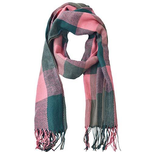 Woogwin Womens Big Grid Winter Warm Lattice Large Scarf Stylish Plaid Blanket Long Shawl Wrap (Pink-Blue)