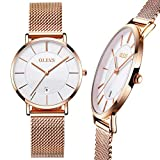 Ultra Thin Rose Gold Watch,Ladies Watches Rose Gold with Date,Mesh Strap Watches with White...