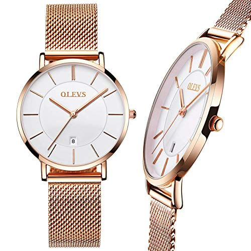 Ultra Thin Rose Gold Watch,Ladies Watches Rose Gold with Date,Mesh Strap Watches with White Dial,Slim Dress Watches for Women,30M Water Resistant Women Watch,Casual Simple Women Watch