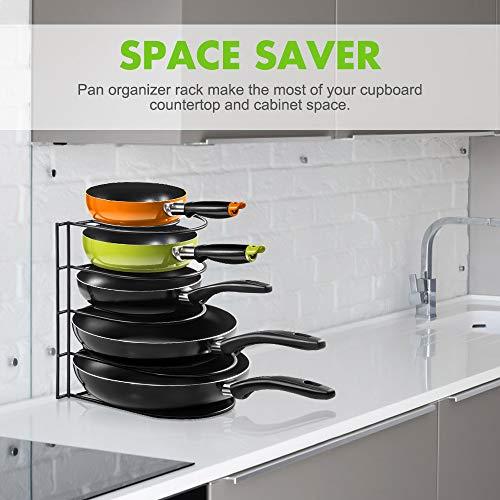 Masthome - Soporte para sartenes de 5 niveles, organizador de ollas de hierro, soporte de almacenamiento para utensilios de cocina con estante ...