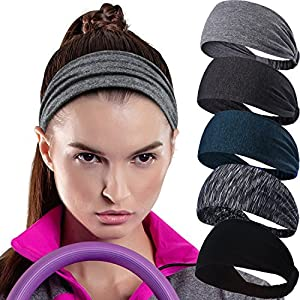 Calbeing Workout Headband for Women Men – Non Slip Sweatband – Stretchy Soft Elastic Head Band – Sports Fitness Exercise…