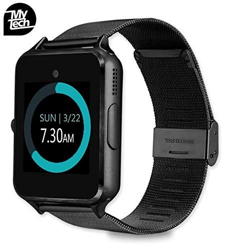 83e591eb67e1 MyTECH Smartwatch Z60 Reloj Celular con Extensible de Metal Bluetooth con  Cámara para iPhone Android (