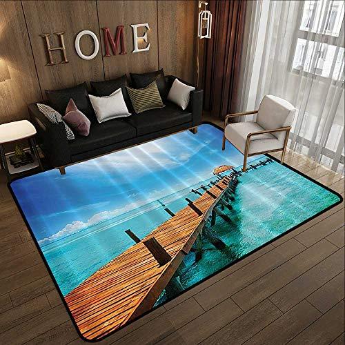 Truck mats,Nautical Ocean Scenery,Wooden Dock Maldives Tropical Island Seashore Gazebo Cabana Theme Beac,Blue Turquoise 59